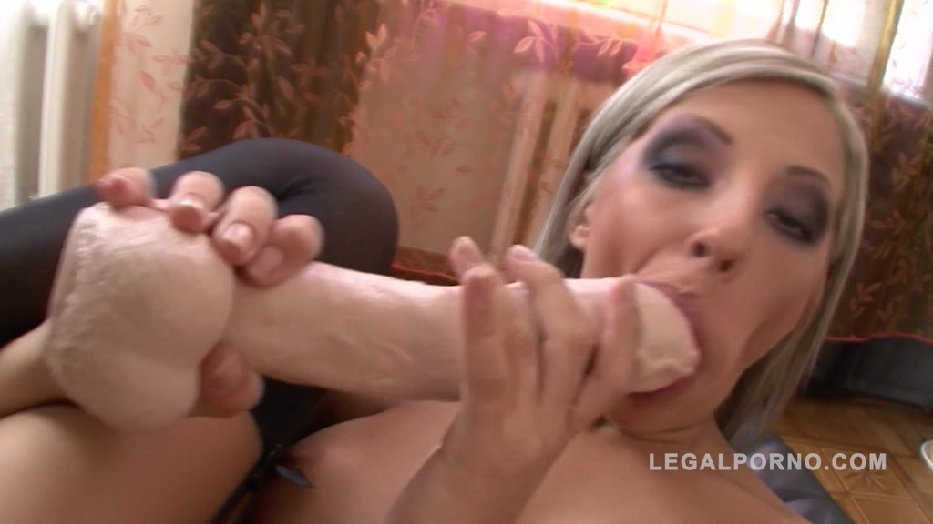 Helga licks her own toes and musturbates with huge toys NR121