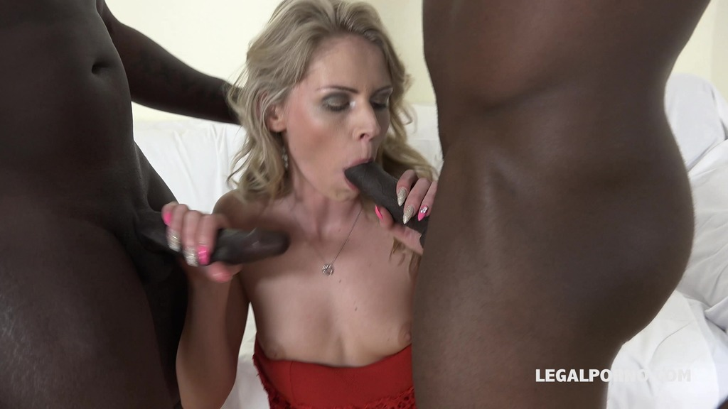 Claudia Mac learns quickly how to take two big black cocks IV057